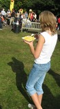 girl/ teenager eating chips. fast food poster