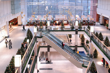 shopping center at xmas time