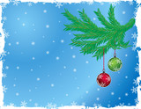 grunge christmas background with baubles poster