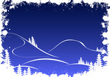grunge winter background with fir-tree snowflakes and santa poster