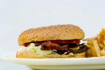 baconburger and fries