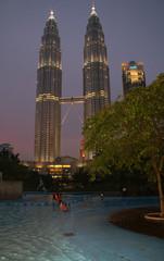 petronas towers and swimming pool