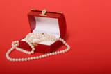 pearl necklace in a gift box poster