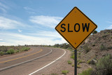 slow road sign poster