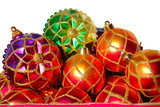 red christmas baubles poster