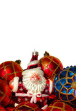 christmas baubles and santa poster