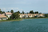 single family houses by water poster