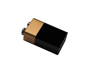 nine volt battery, isolated on white