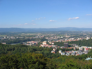 karlovy vary's view from a mountain.