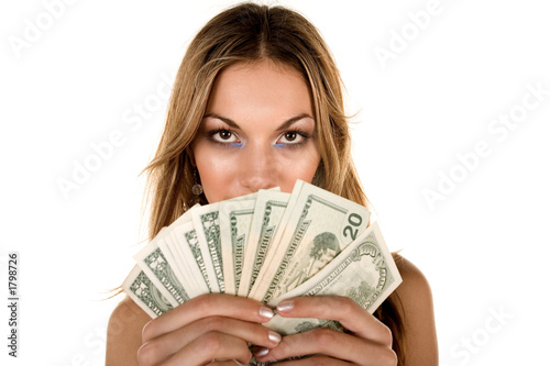 attractive girl and money