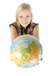 young blonde woman with globe