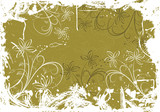 grunge floral background with blots poster
