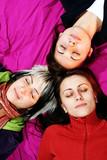 women friends sleep poster