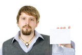 guy with sign(envelope) poster
