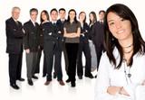 business team work - girl leading poster
