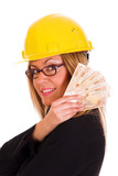 a businesswoman with earnings poster