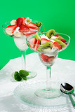 strawberry and kiwi dessert in glass poster