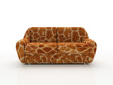 spotted sofa with imitation under skin of the giraffe poster