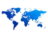 world map blue poster