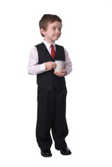 boy business man with coffee