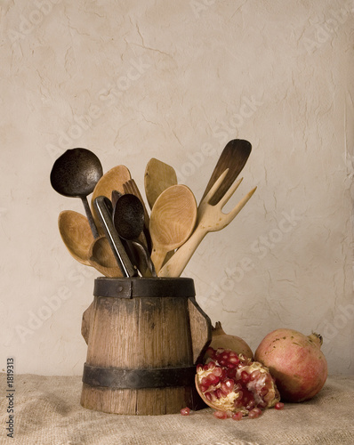 pomegranates and cutlery
