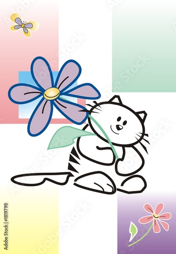 a cat a giving flower