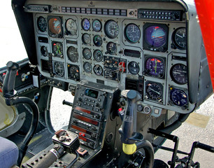 helicopter cockpit and control panel