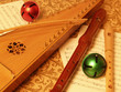 bowed psaltery with recorders closeup