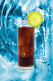 cold cola with ice cubes poster