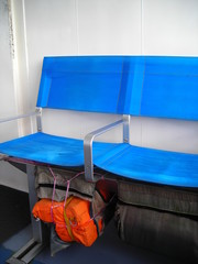 life jacket underneath chair seats of cruise ship