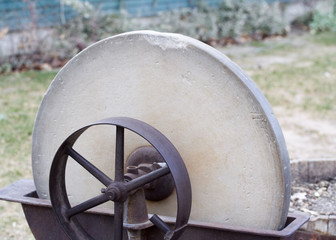 old pioneer era grindstone closeup