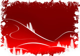 grunge winter background with fir-tree snowflakes and santa clau poster