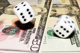 rolling dice with move effect on dollars poster