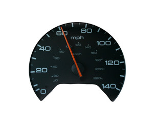 speedometer at 60 mph 100 kph on white