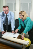 architect and client looking at blueprints 6 poster