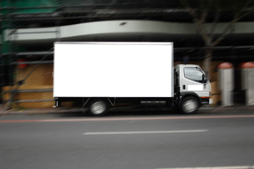 blank fast truck in city