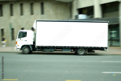 blank truck in city precinct