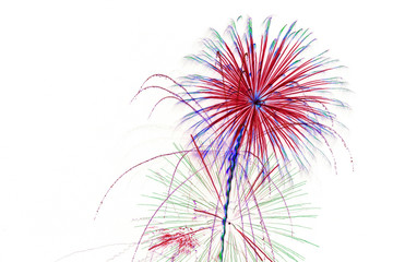 fireworks on white