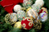 assortment of christmas baubles poster