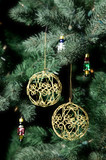 gold baubles on christmas tree poster