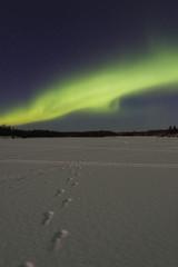 bright aurora over frozen lake