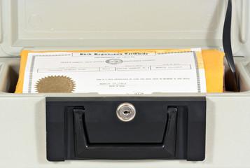 fire box and birth certificate