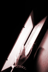 laptop in white screen.closeup.isolated on black