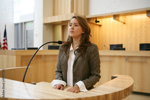 Leinwanddruck Bild woman testifying