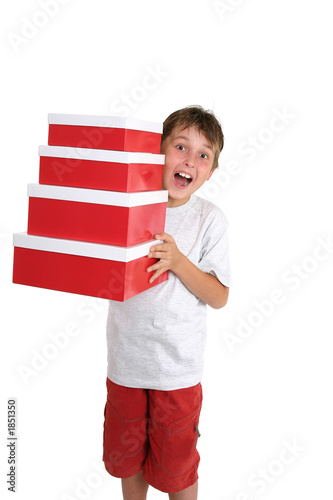 poster of excited child carrying gift boxes