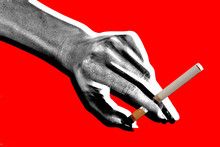 hand mit zigarette