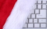santa hat on a keyboard