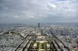 aerial view of paris. unesco building  behind mili poster