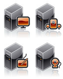 design elements 51f. internet computer and software icons set poster