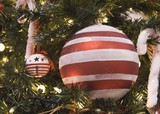 red and white stripe ball ornament poster